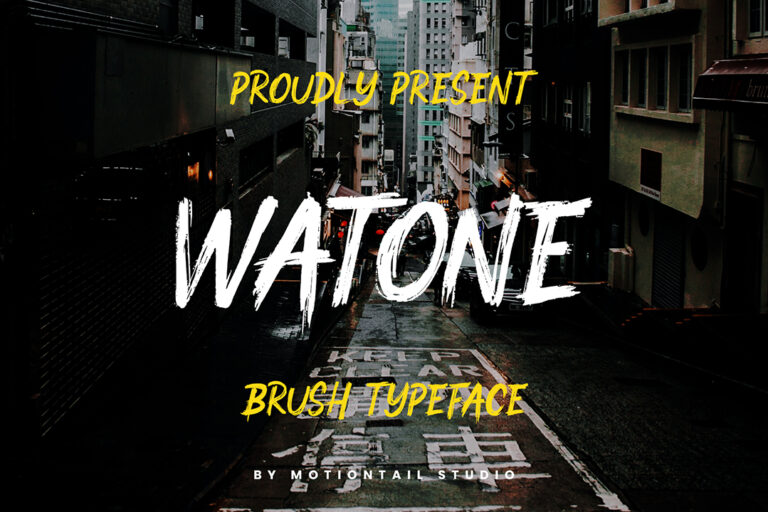 Preview image of Watone – Brush Textured Font