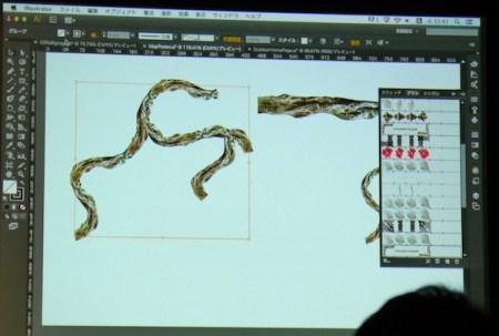 Illustrator CC ブラシにビットマップを適用できる。