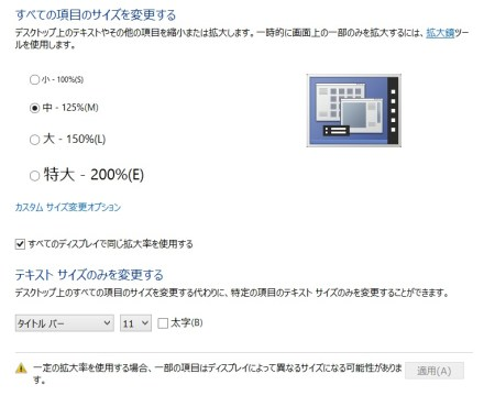 Windows8.1では「すべての項目のサイズを変更する」からテキストやアイコンのサイズを変更可能