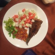 Fry fish, cucumber and tomatoes and fresh seasoning to be eaten with Attieke
