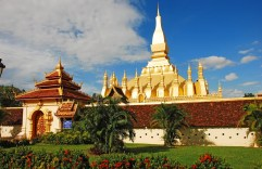 Pha That Luang - gold-covered large Buddhist stupa in the centre of Vientiane, Laos