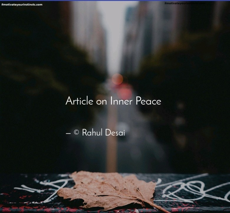 Inner peace is to be earned