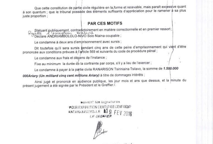 428.492 euros d'intérêts civils attribués à un simple associé, RANARISON Tsilavo sans aucune motivation par les juges du fond malgache