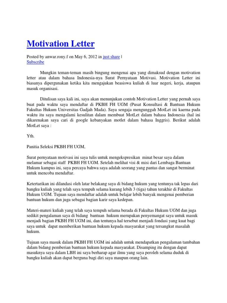 Motivation Letter Indonesia : motivation, letter, indonesia, Sample, Motivation, Letter, Organization