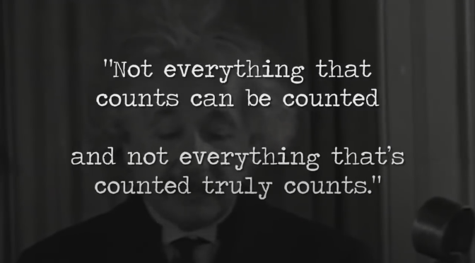 Not everything that counts can be counted, and not everything that's counted truly counts.