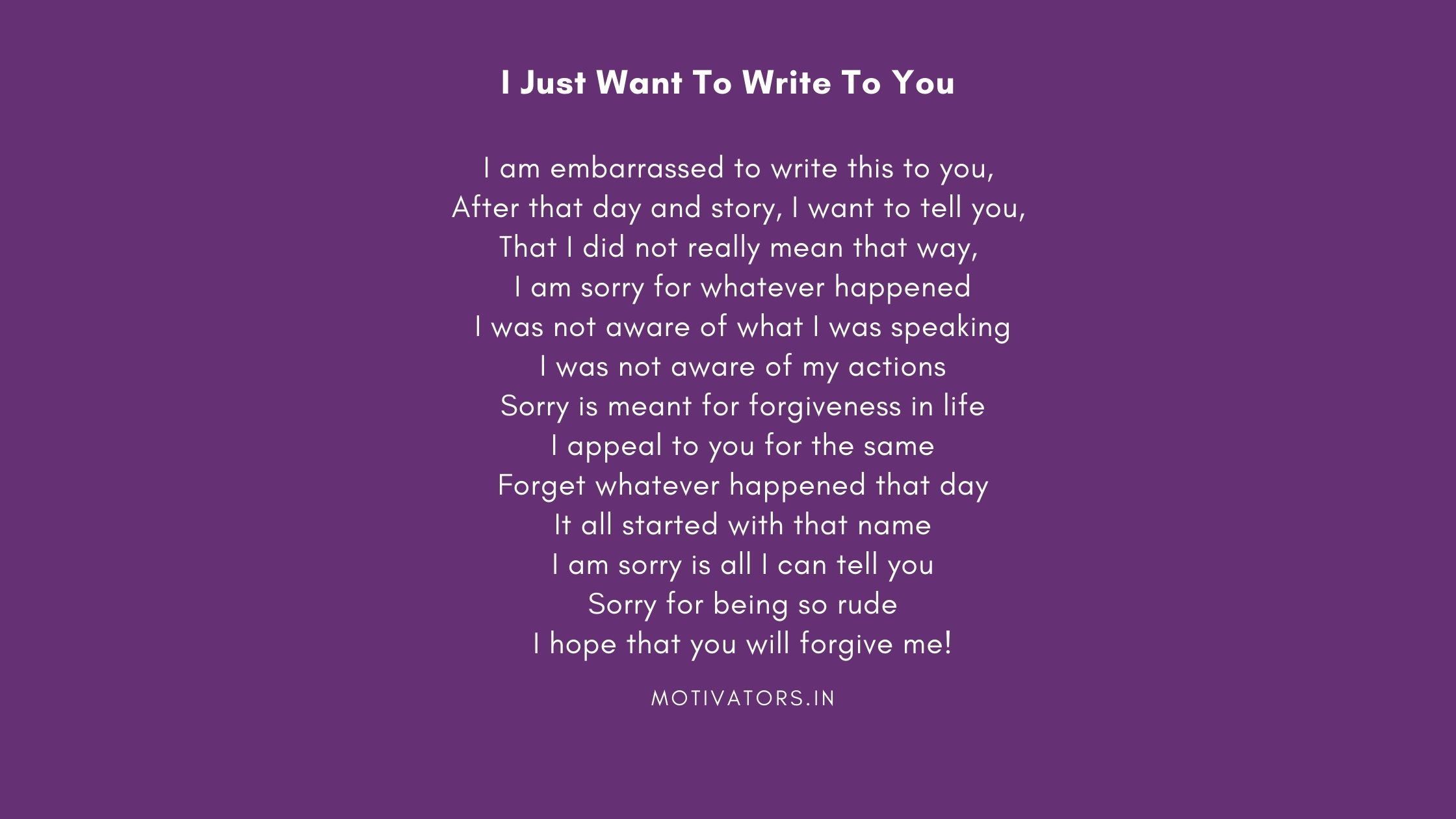 I Just Want To Write To You