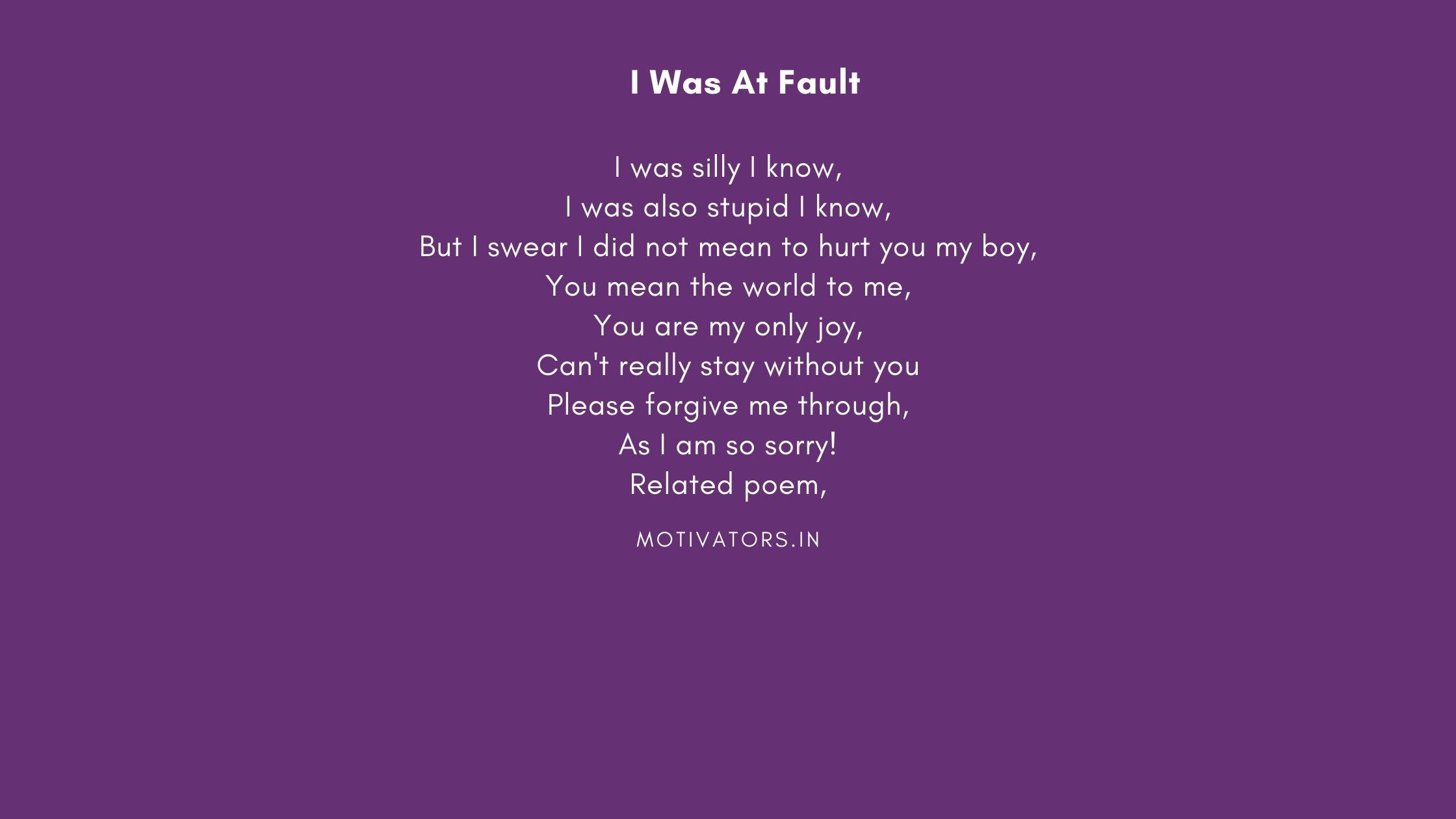 I Was At Fault