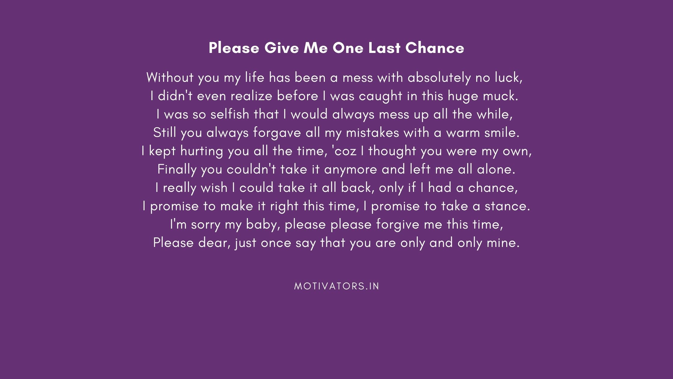 Please Give Me One Last Chance