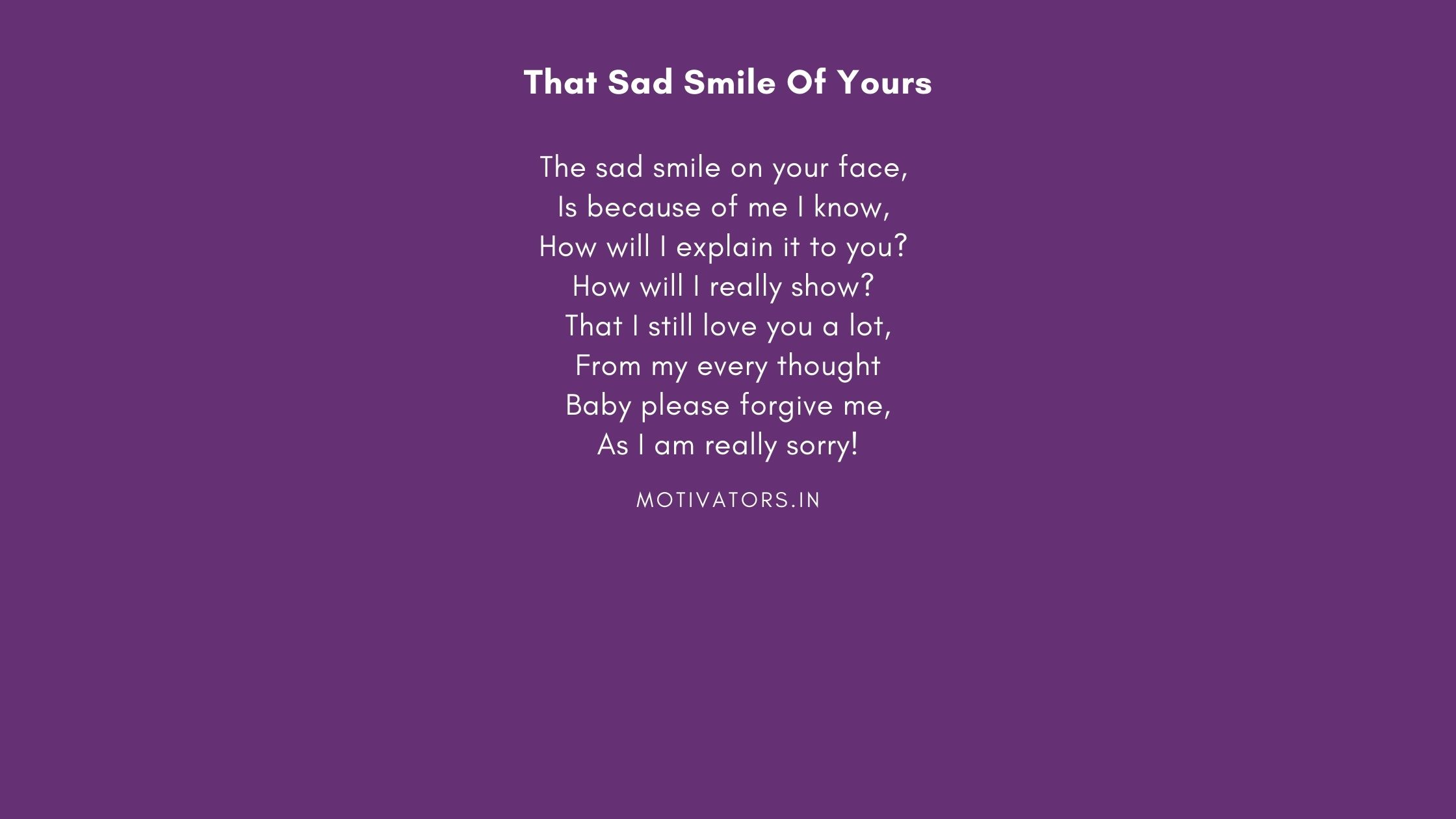 That Sad Smile Of Yours