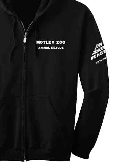 Left SLEEVE hoodie CAT motley zoo animal rescue
