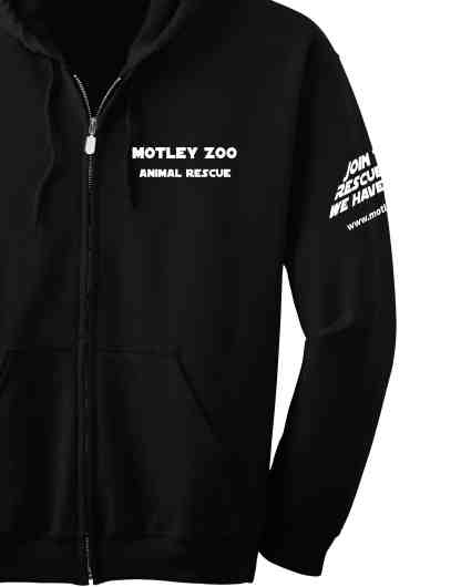Left SLEEVE hoodie CAT motley zoo animal rescue