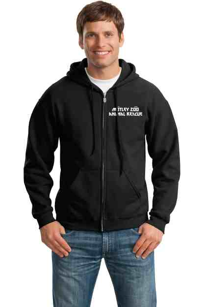 pits rock fleft chest hoodie front model motley zoo animal rescue