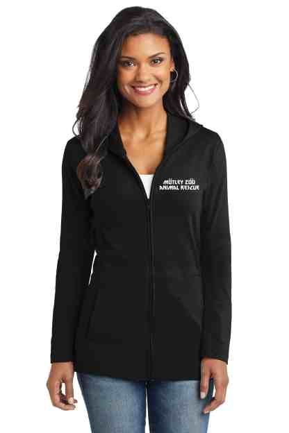 pits rock women hoodie front model motley zoo animal rescue