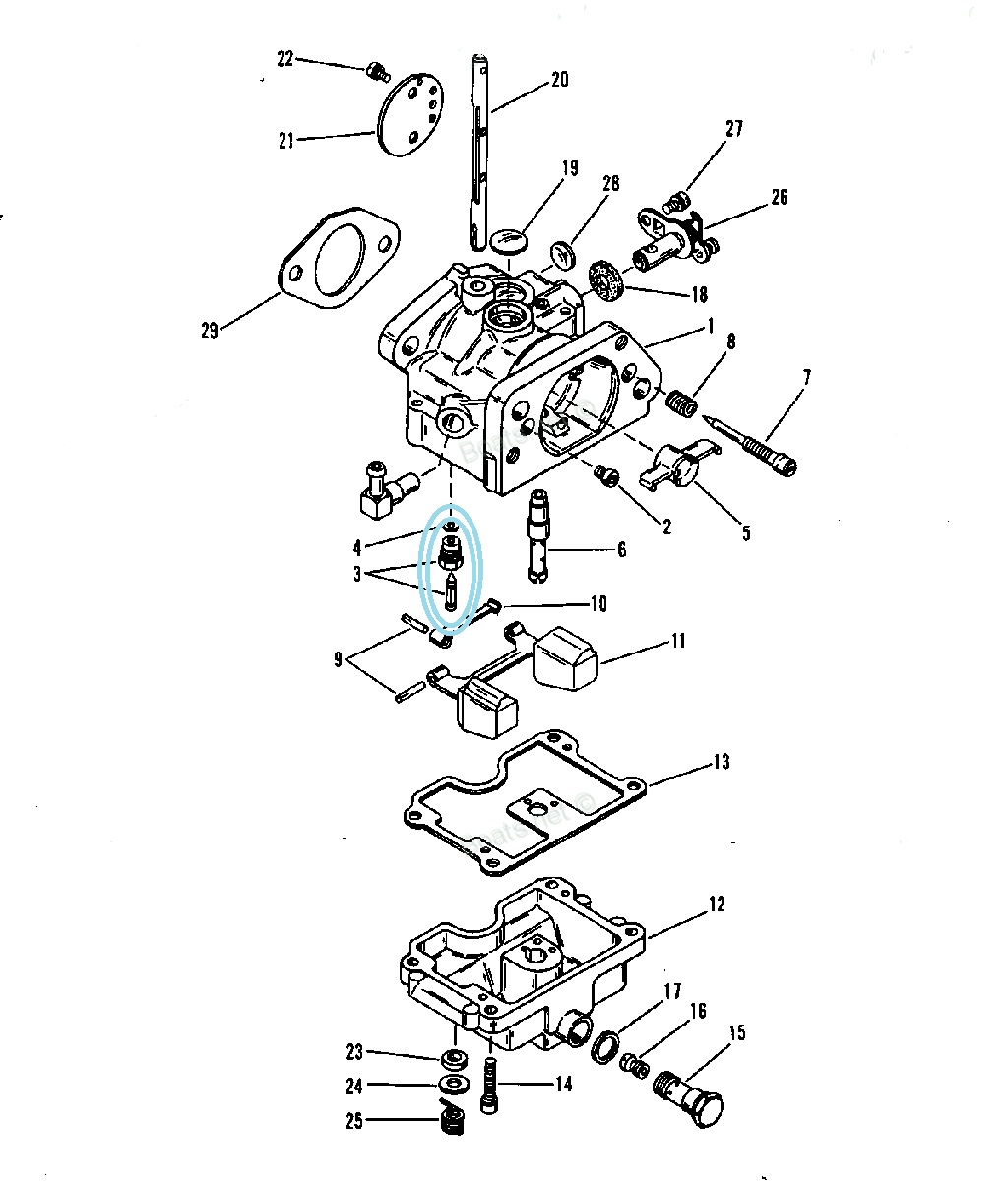 Kit Cui Pontou Carburator Mercury 75 CP