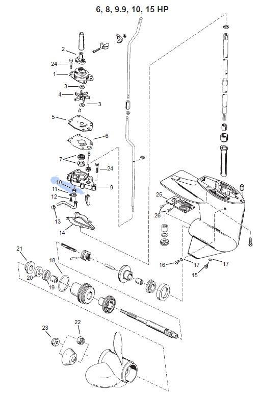 Simering pompa apa Mercury 6-75 CP
