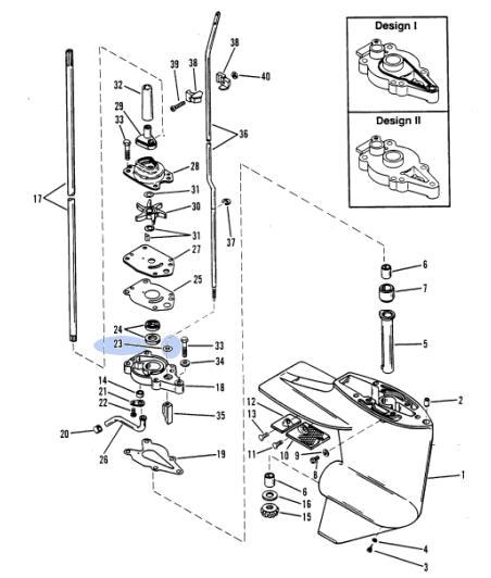 Simering Pompa Apa Mercury 6-25 CP