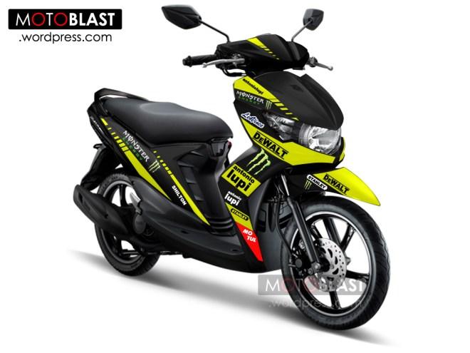 modif striping mio soul GT Hitam ala TECH3 MotoGP