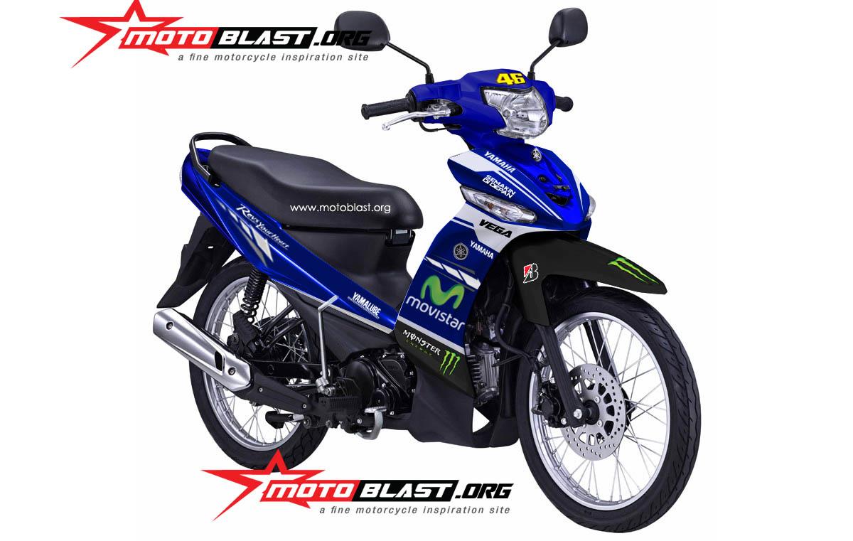 Modif Decal design Yamaha New Vega R Movistar Yamaha