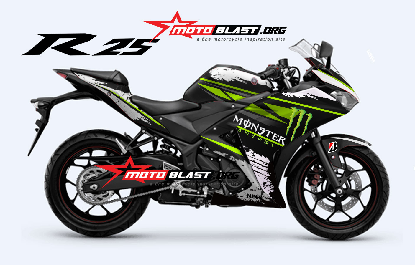 Modif Striping Yamaha R25 Monster energy  MOTOBLAST