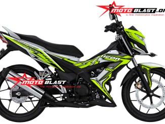 modifikasi honda sonic 150 R putih icon thunder green lemon motoblast