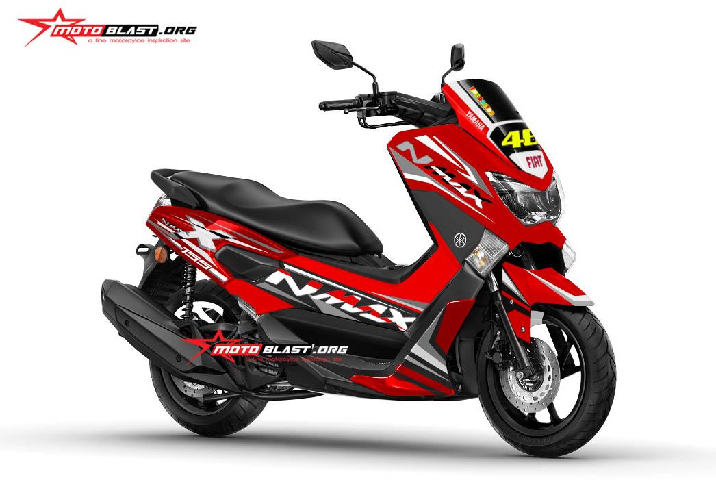 modifikasi nmax red grey fresh motoblast