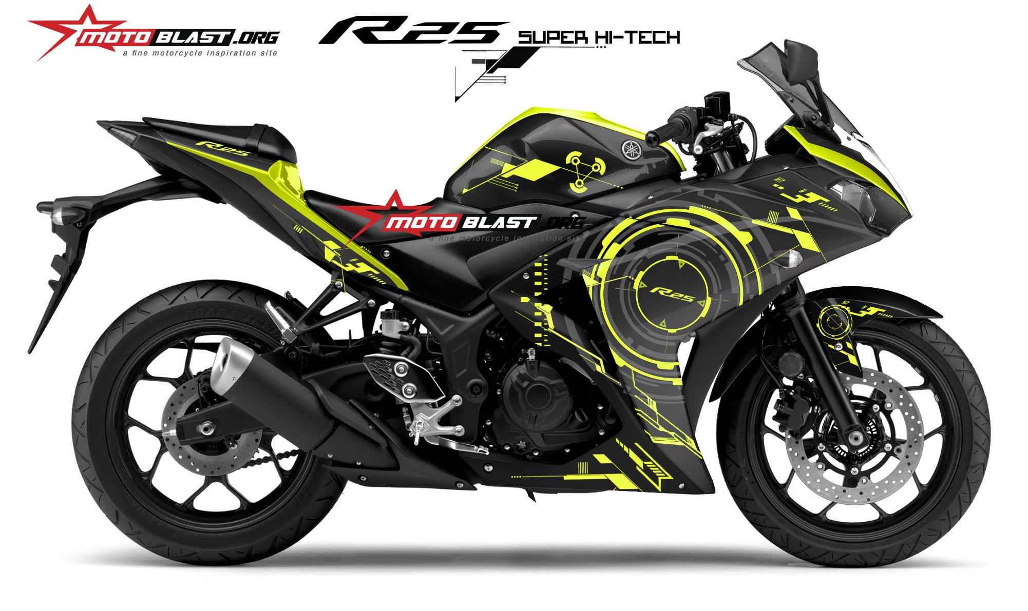 Graphic kit yamaha r25 black super hi tech motoblast
