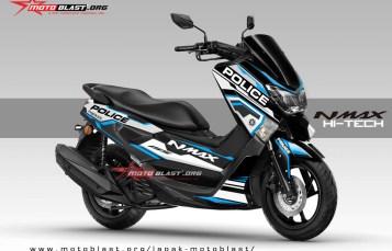 Modifikasi striping Yamaha NMAX Black Police HITECH V2