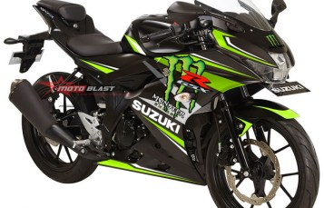 Modifikasi Striping Suzuki GSX-R150 Black Monster