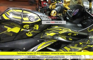 Testimonial Yamaha YZF R15 Grey Full Motif Carbon Hitech Yellow