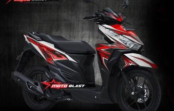 Modifikasi Motor Matic terbaru Striping Honda Vario 150/125 Esp White Red Slash