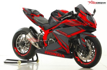 Modifikasi striping Honda CBR250RR Black Red Carbon