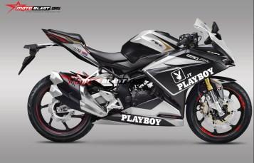 Modifikasi striping Honda CBR250RR Black Playboy