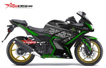 Modifikasi striping kawasaki ninja 250r Karbu black green