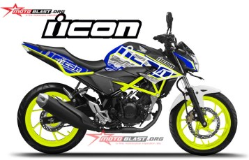 Modifikasi Striping Honda New CB150R Blue Hitech White Green