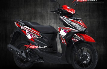 Modifikasi Striping Honda Vario 125/150Esp RED Hello Kitty & Minnie Mouse
