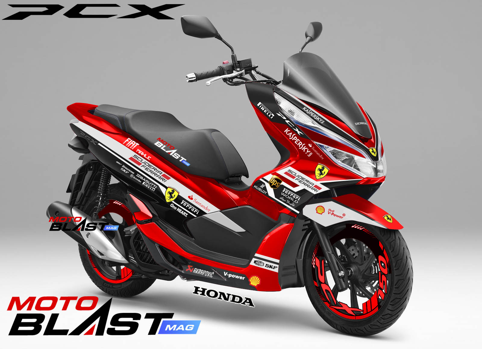 modifikasi striping honda pcx  red ferrari motoblast