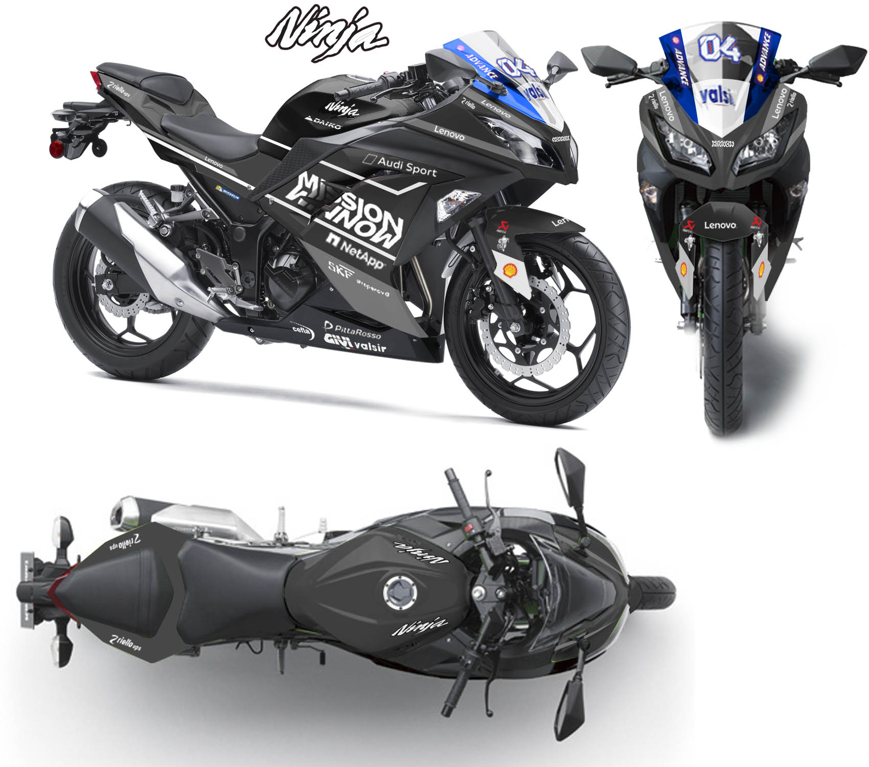Modifikasi striping Kawasaki Ninja 250R Fi Mission Winnow Black