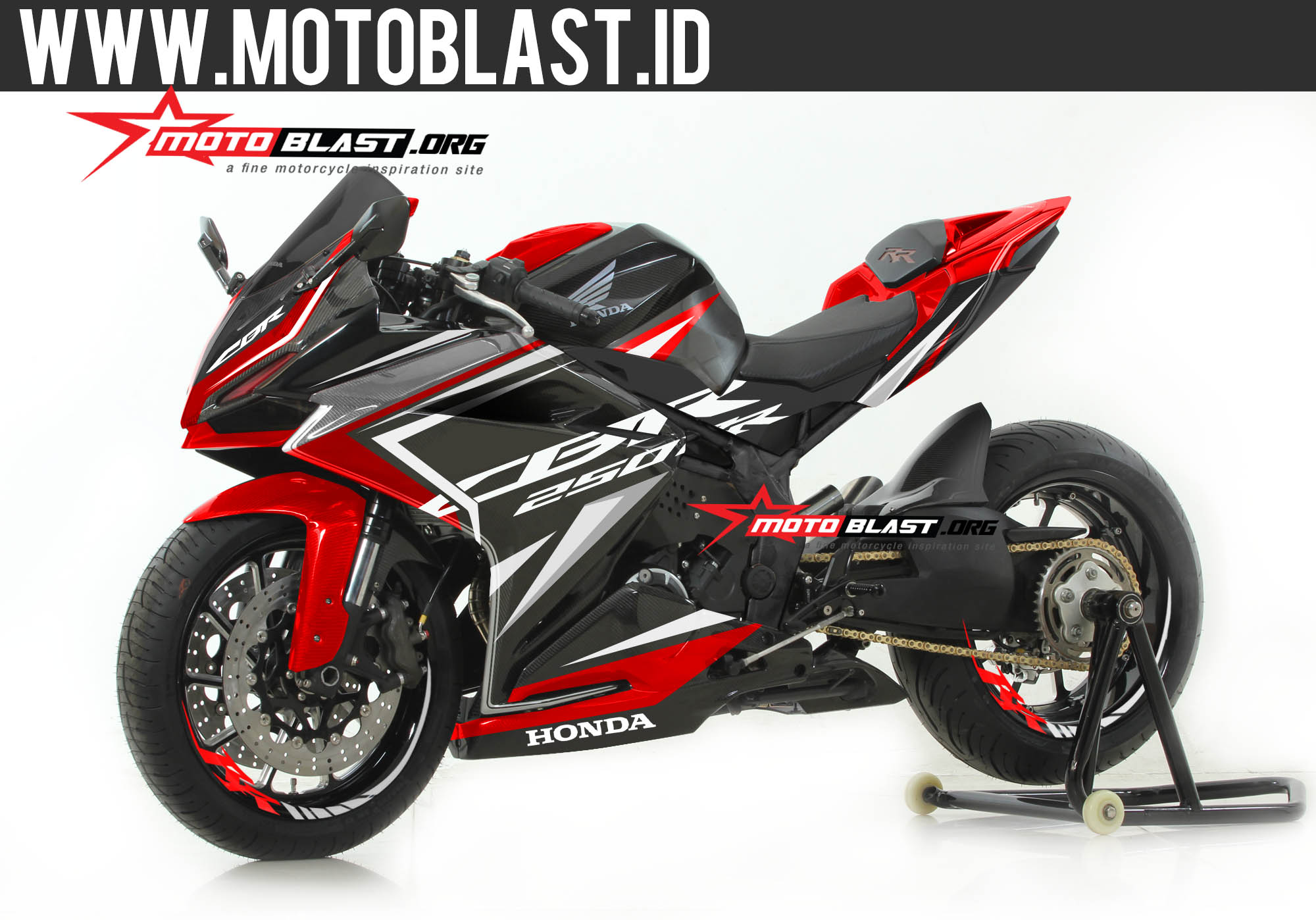 Modifikasi cbr250rr black sporty red motoblast