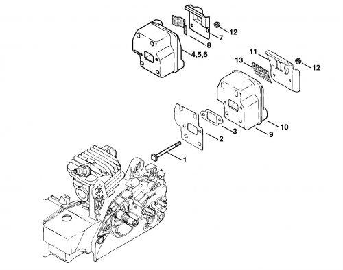 Крышка глушителя Stihl для MS 210, MS 230, MS 250 (1123