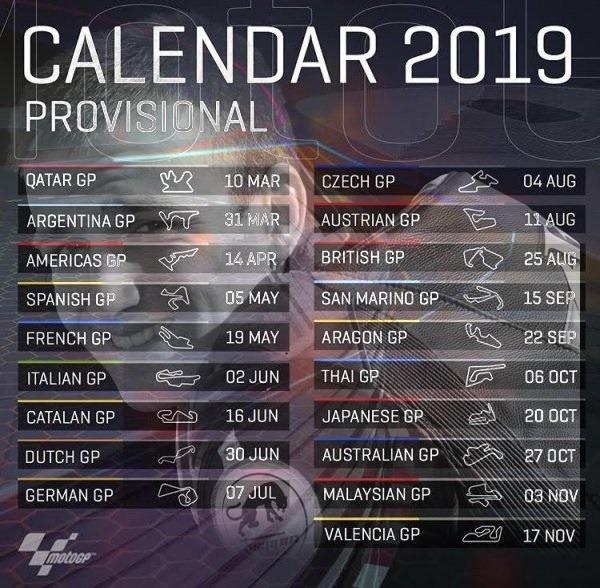 Calendrier MOTO GP 2019 Zarco