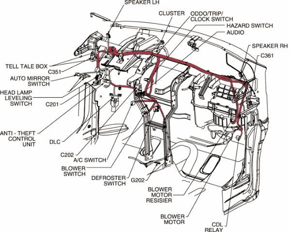 98 mercury sable engine diagram