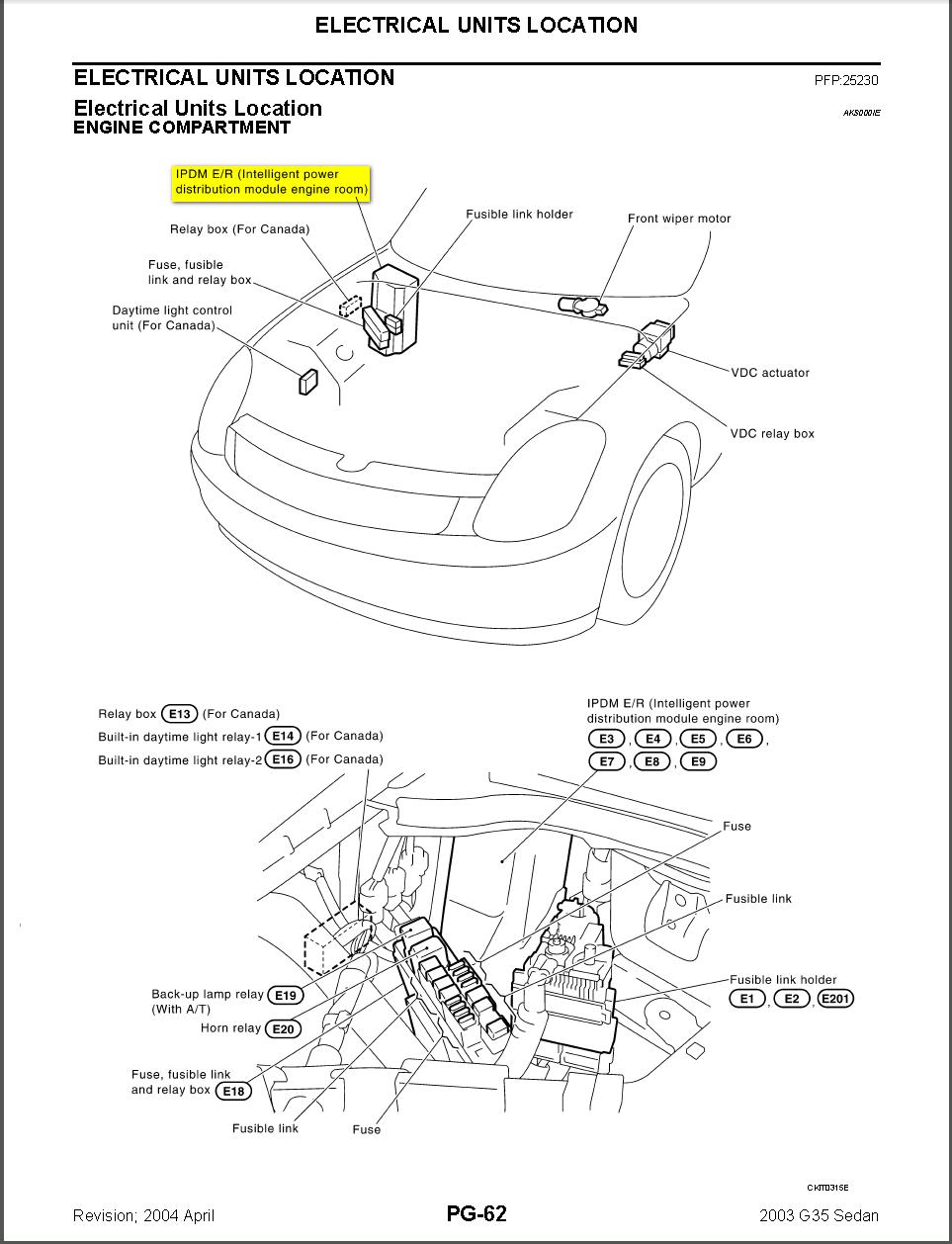 Infiniti G35 Fuse Box Diagram