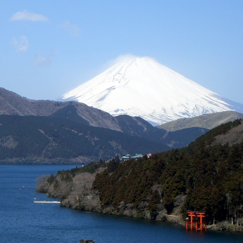 A view of Mt. Fuji and Lake Ashi from Moto-Hakone area
