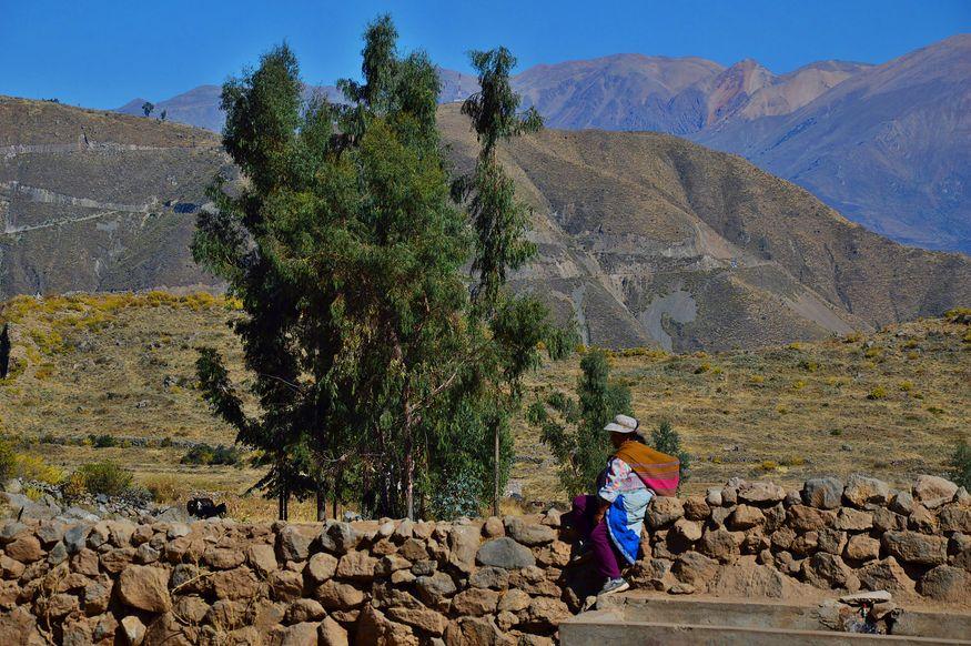 Перуанка в традиционной одежде в каньоне реки Колка