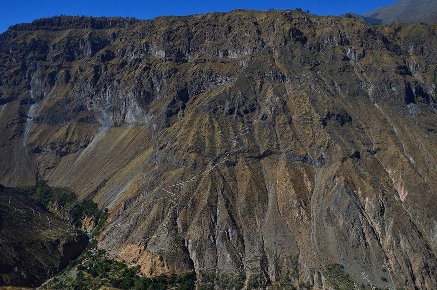 Тропа на отвесной скале в каньоне колка перу