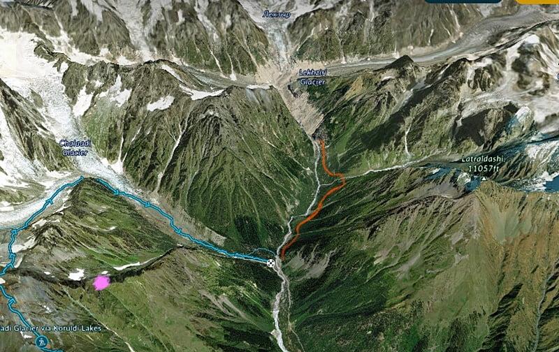 3d карта маршрутов к ледника чалаади и лекзыр