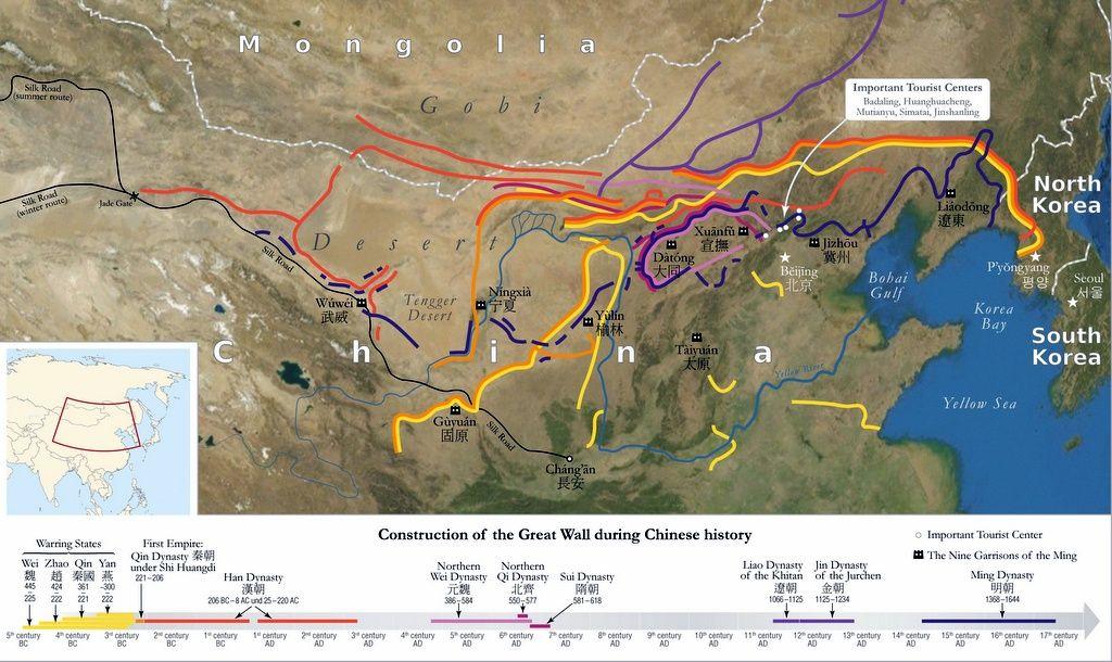 Великая Китайская стена - карта