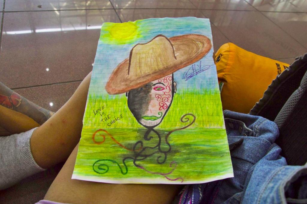 рисунок карандашом - человек в шляпе