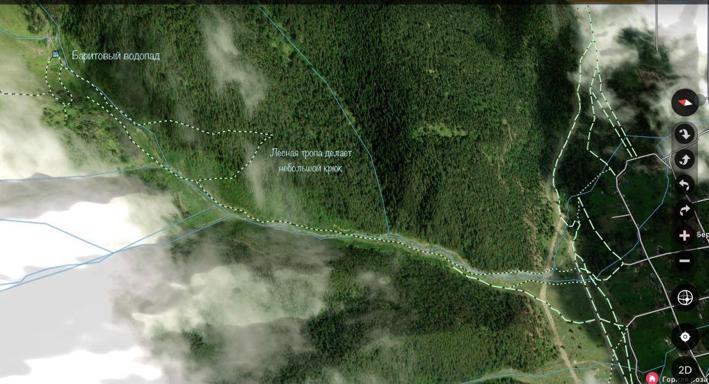 Карта похода водопад Баритовый Архыз