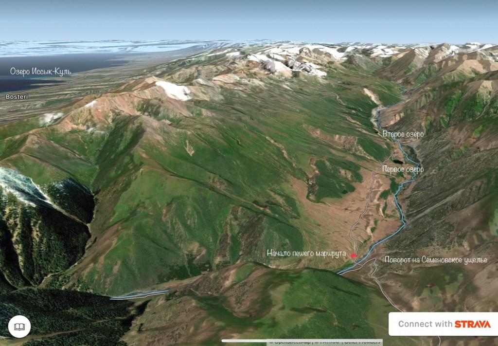 Карта похода к Верхнему озеру в Григорьевском ущелье